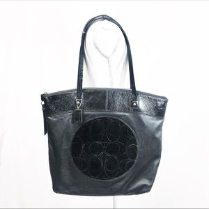 Coach Laura Leather and Patent Black Tote